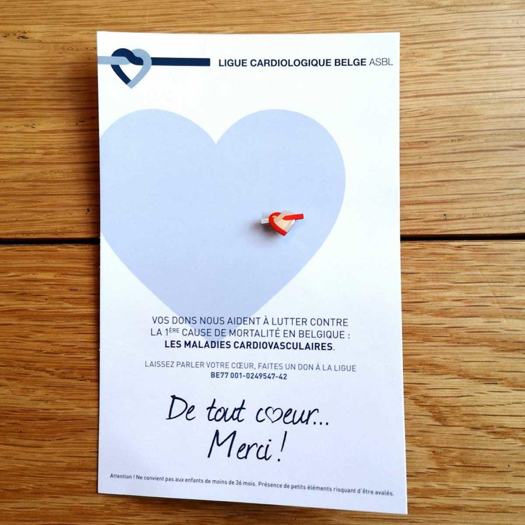 """Pins """"Cœur"""" de la ligue cardiologique belge"""